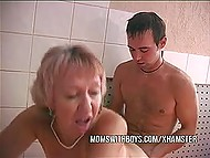 Old stepmother was taking shower with young stepson and couldn't waste chance to get hard cock in vagina 4