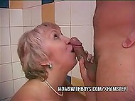 Old stepmother was taking shower with young stepson and couldn't waste chance to get hard cock in vagina 5
