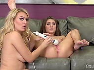 Energetic fingers weren't enough to get rid of lust that's why girlfriends grabbed adult toys