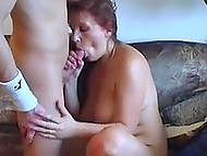 Vicious Lithuanian MILF with saggy boobs has sex with younger guy after gatherings at the table