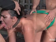 Compilation of BDSM scenes with gals getting banged really hard and giving deepthroat blowjob 4