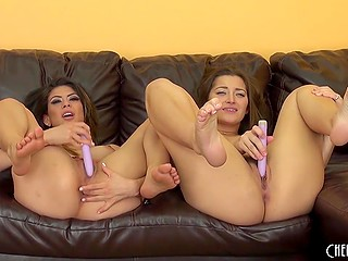 Couple of vibrators were needed to calm desired babe Heather Vahn and her playful girlfriend