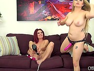 Two busty lesbians after warming up with masturbation and toys have fun with strapon 4