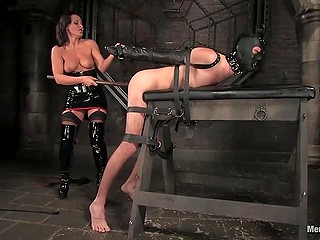 Imperious brunette in black outfit brought tied up male a lot of thrill before taking care of his penis