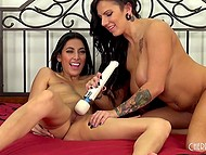 Big-tittied MILF has a lot of experience but young Latina very expertly toys her pussy with vibrator