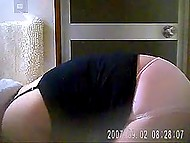 Husband sets hidden camera in front of bathroom to catch his saggy-tittied spouse without clothes 7