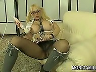 Big-boobied pornstar from Norway Monica Milf tears her pantyhose to dildo excited vagina 4