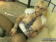Big-boobied pornstar from Norway Monica Milf tears her pantyhose to dildo excited vagina 7