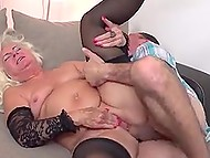 Shaggy pervert vigorously moves his erect thing inside twat of old female in lace lingerie