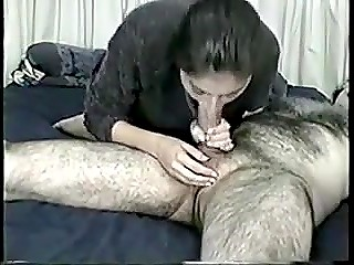 Young Arab girl persistently sucks fat cock of her hairy husband and gets mouth full of cum