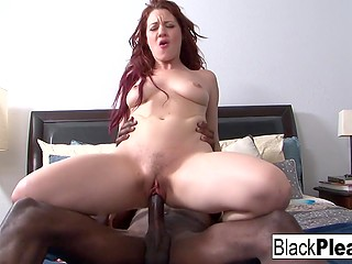Red-haired girl happily put laptop aside to have active ride on great black cock