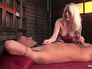 White-headed beauty stimulated tied up man but still brought him to crazy ejaculation 6