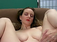 Playful dame with great natural jugs spread legs and carefully masturbated hairy vagina alone 7