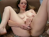 Playful dame with great natural jugs spread legs and carefully masturbated hairy vagina alone 8