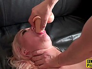 Arrogant bitch ignored man and had to engulf his cock and dildo deep inside her throat 8