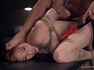 Red-haired chick Lauren Phillips was giving tittyfucking and wanted to go away because of arisen sound but man grabbed her