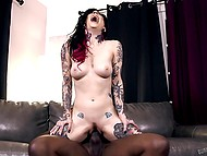 Tattooed brunette carefully moistened immense black dick waiting in wings to have severe anal 5