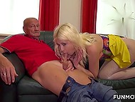 Blonde girl in fishnet pantyhose gave old man blowjob and let dude take care of wet twat 4