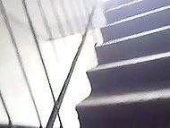 Pervert with camera keeps filming neighbor's goodies under skirt following her on stairs 7