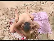Voyeur is on the right beach in right time to record shameless couple doing it on sand 8