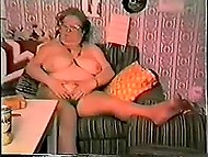Vintage porn clip with fatty old female finding enormous dildo at home and going to have some fun