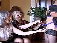Two old women were pleasantly surprised when young ladyboy showed them stick