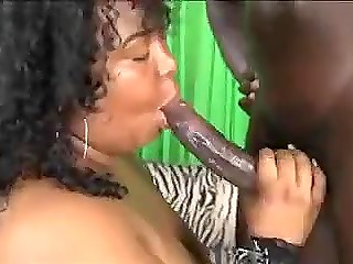 Man with big black dick pays every effort to satisfy Ebony BBW with tattooed butterfly on her buttocks