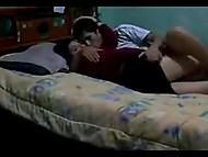 Homemade XXX video with teenage Arab girl lying in bed with boyfriend's dick in pussy  4
