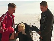Tempered Russian men pull dicks out in the cold to get them sucked by mature bitch