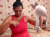 Cheerful MILF from India sucked big dildo and demonstrated giant boobers on webcam 8