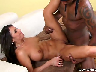 Ebony lad fucked dark-haired stepmom of his friend and she thrust fingers inside slit to taste cum