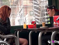 Red-haired Spanish babe has fun with youngster in public places while walking around city 4