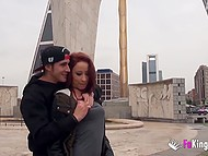 Red-haired Spanish babe has fun with youngster in public places while walking around city 7