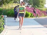 Glamour pervert from Russia Jeny Smith secretly flashes her pussy and strong buttocks on camera in public places 7