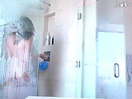 Guy joined nice girlfriends in shower then organized awesome threesome on comfortable bed 6