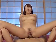 Lazy fucker needs to relax and enjoy stacked Japanese girlfriend riding his strong penis