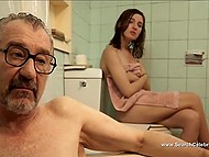 Old man and young girl have the best conversation when talk to each other in bathroom being naked