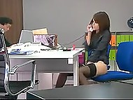 Slender Japanese secretary polishes overgrown pussy with toys in front of colleague in office 7