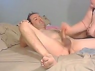 Naughty BBW pleases partner with blowjob and handles his fuckstick in homemade porn video 6