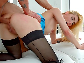 Coquettish blonde with beautiful body masturbated asshole with sex toy awaiting for wild anal fuck
