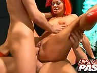 Fragile honey with red hair widened beautiful legs and let two hot penises inside narrow holes