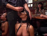 Young girls in collars were spanked and penetrated hard in front of restaurant visitors 10