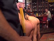 Young girls in collars were spanked and penetrated hard in front of restaurant visitors 5