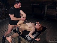 Experienced debauchee punished red-haired honey and severely fucked her asshole in basement