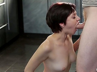 Short-haired sweet thing took break from cleaning to give guy deepthroat blowjob in kitchen