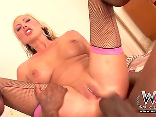 Wonderful woman with massive jugs lured black dude out of room to have great anal with creampie