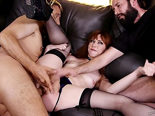 Red-haired wily slut got double penetrated roughly and facialized in group sex scene
