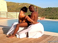 Pumped guy slowly thrusts black penis into unshaven pussy of sweetheart by poolside 8