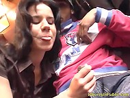 Two attractive brunettes were convinced to give blowjob and have awesome group fuck on train