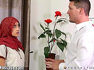 Big masseur was so polite with fragile Arab client that soon his dick visited that oiled pussy 5